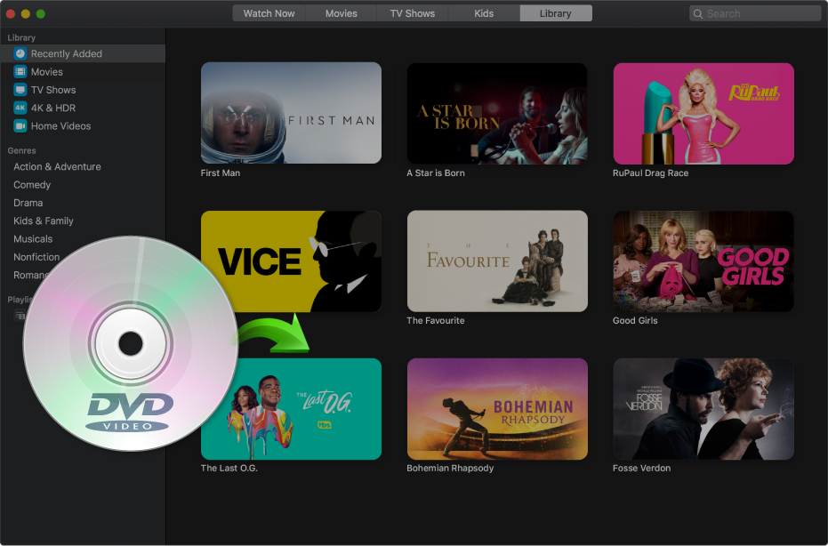 add dvds to apple tv app on mac
