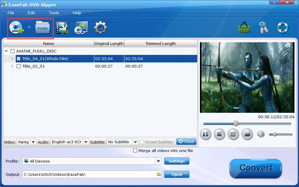 easefab dvd ripper load