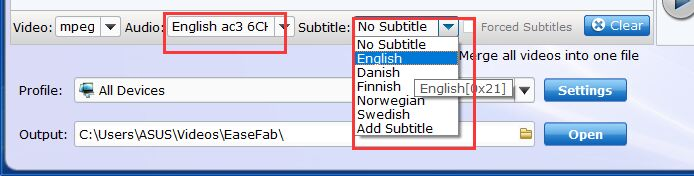 easefab dvd ripper select subtitles