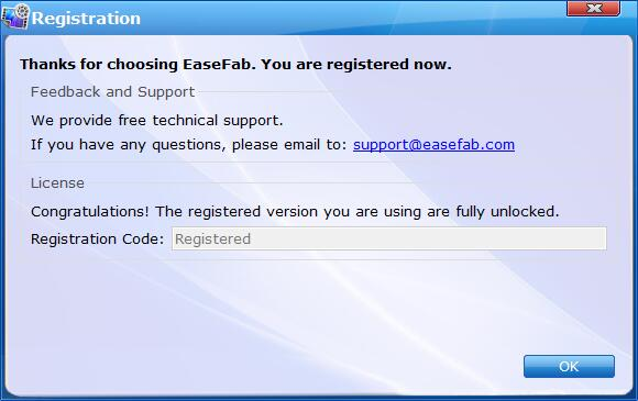 Successfully Register EaseFab Video Converter